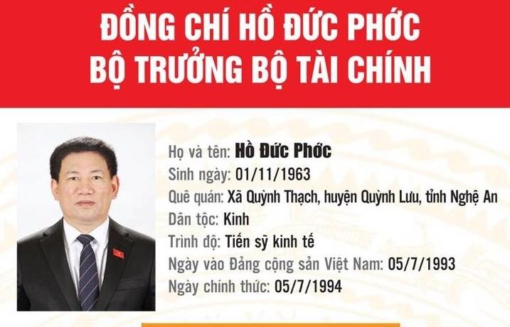 Infographics: Tiểu sử tân Bộ trưởng Bộ Tài chính Hồ Đức Phớc