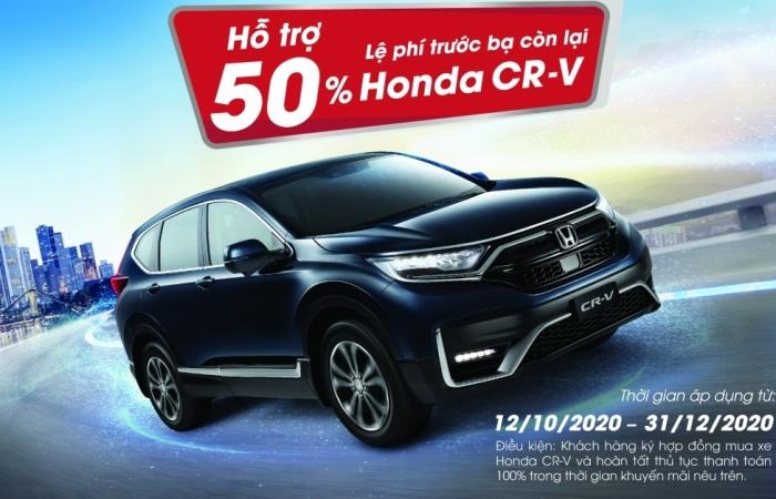 Honda Việt Nam hỗ trợ 50% lệ phí trước bạ còn lại cho khách hàng mua CR-V